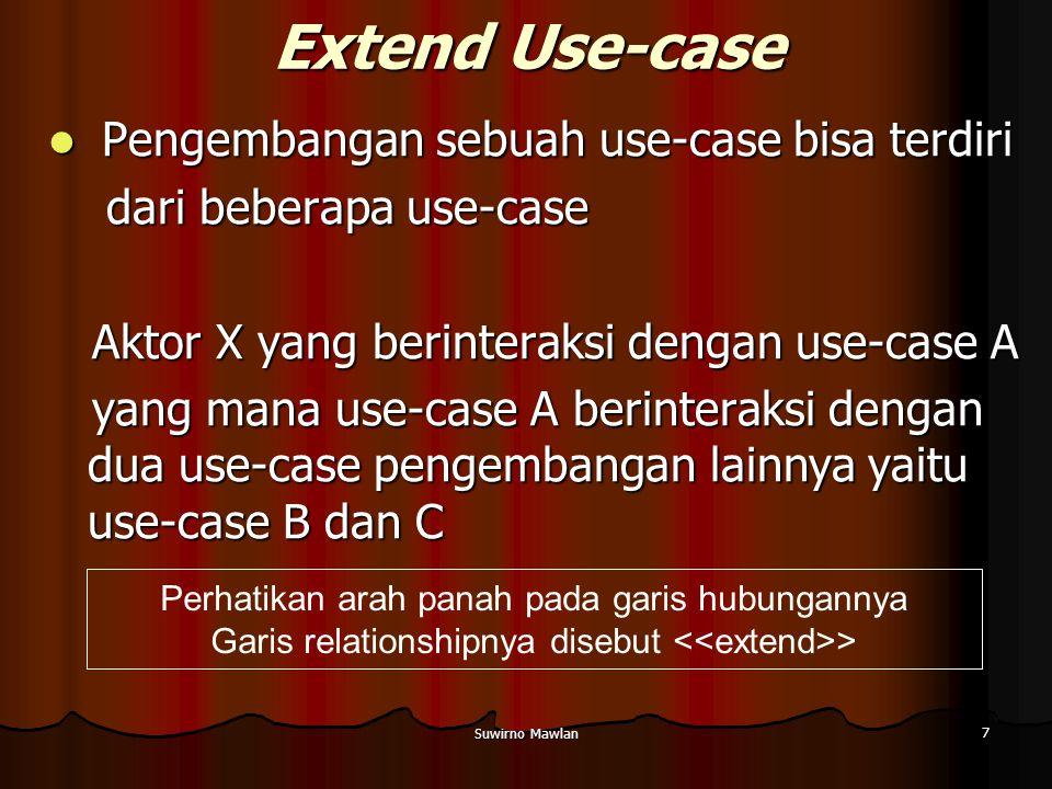 Extend Use-case Pengembangan sebuah use-case bisa terdiri