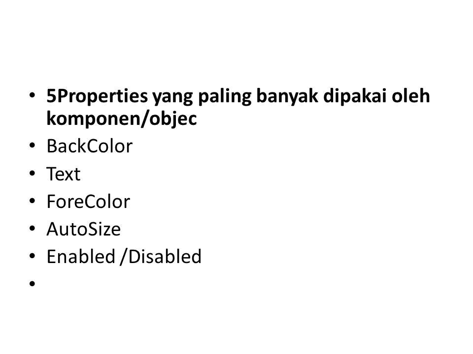 5Properties yang paling banyak dipakai oleh komponen/objec