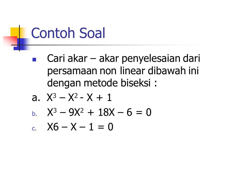 Contoh Soal Cari akar – akar penyelesaian dari persamaan non linear dibawah ini dengan metode biseksi :