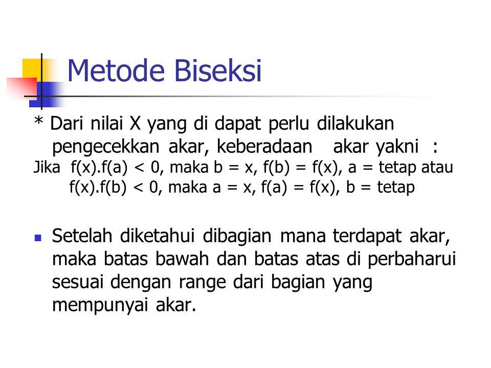 Metode Biseksi * Dari nilai X yang di dapat perlu dilakukan pengecekkan akar, keberadaan akar yakni :