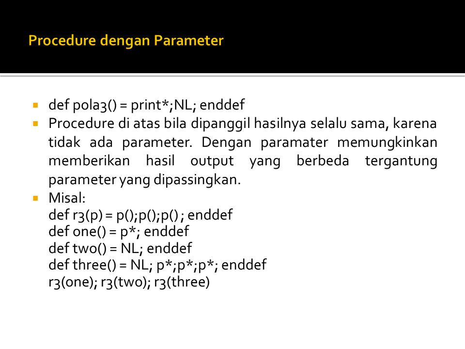 Procedure dengan Parameter