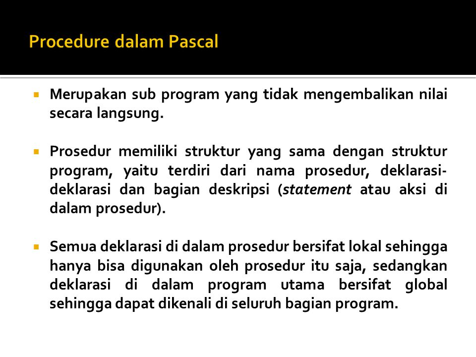 Procedure dalam Pascal