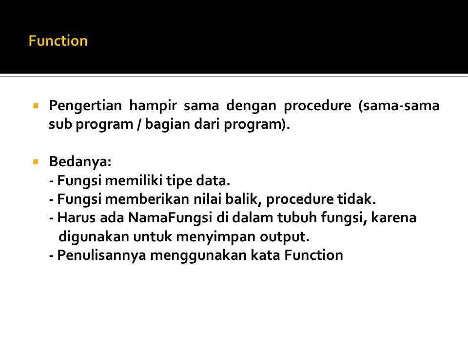 Function Pengertian hampir sama dengan procedure (sama-sama sub program / bagian dari program). Bedanya: