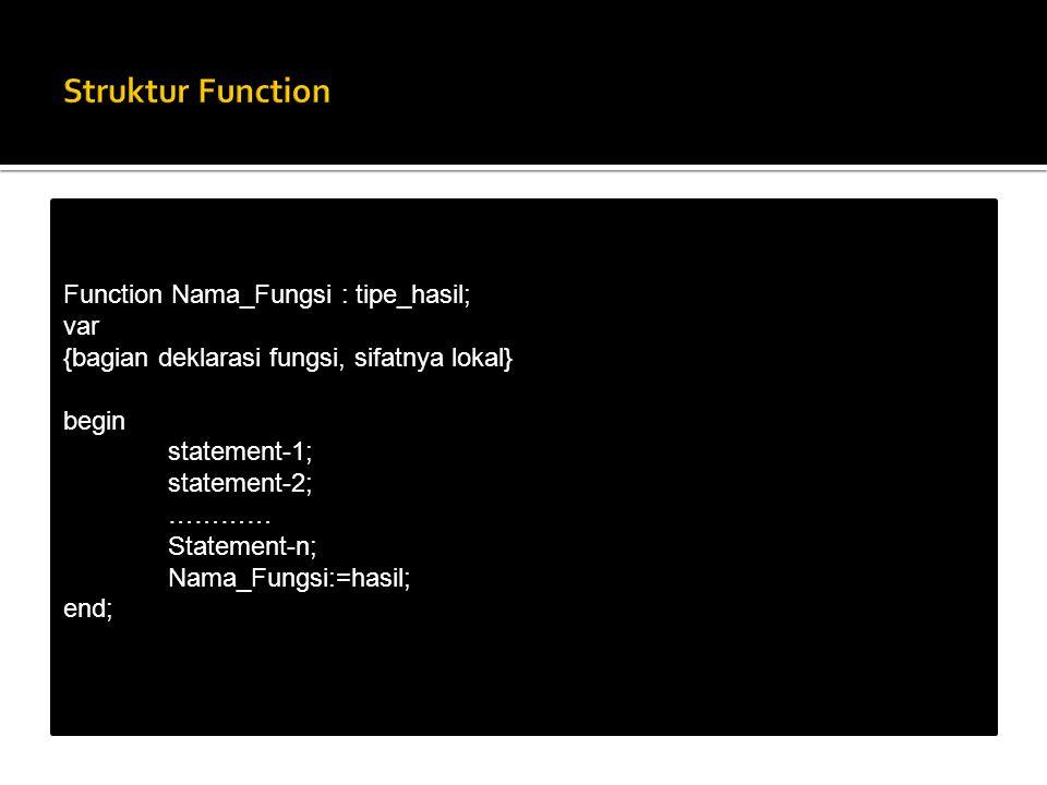 Struktur Function Function Nama_Fungsi : tipe_hasil; var