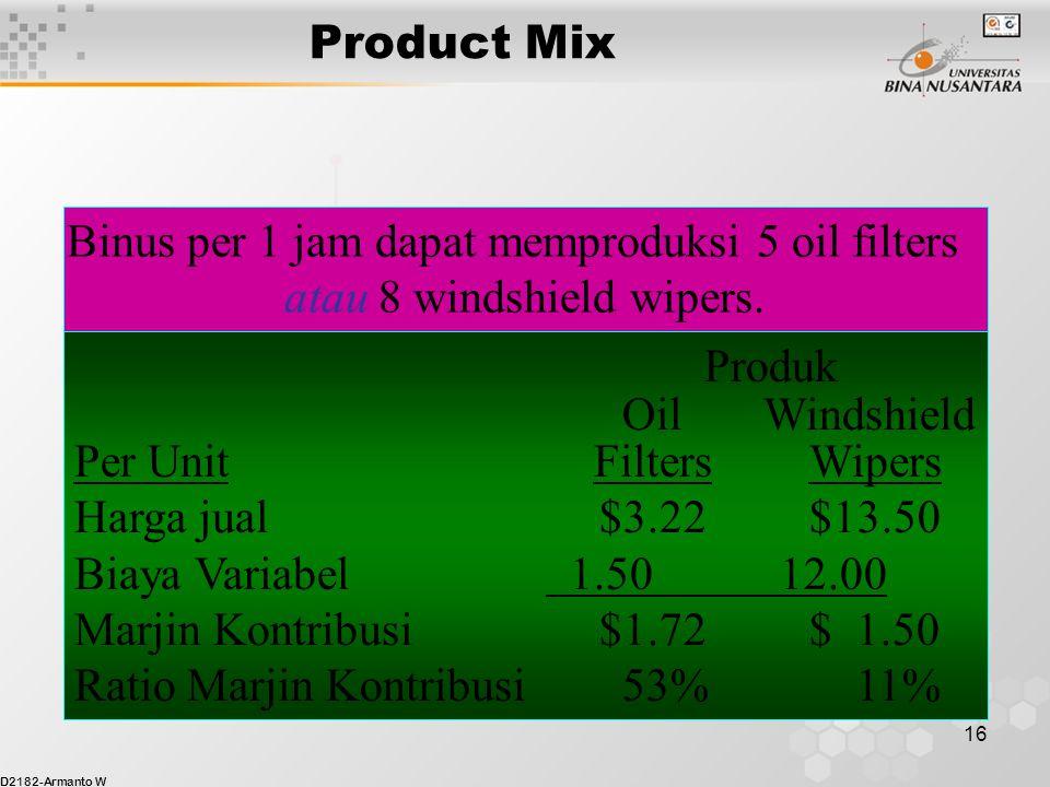 Binus per 1 jam dapat memproduksi 5 oil filters