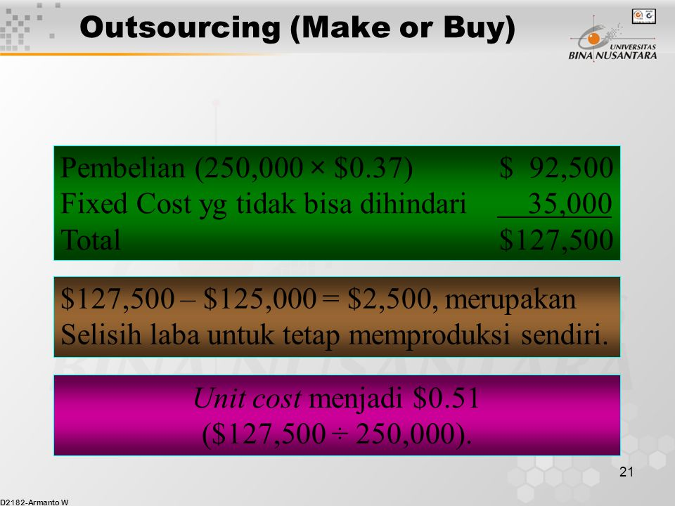 Outsourcing (Make or Buy)