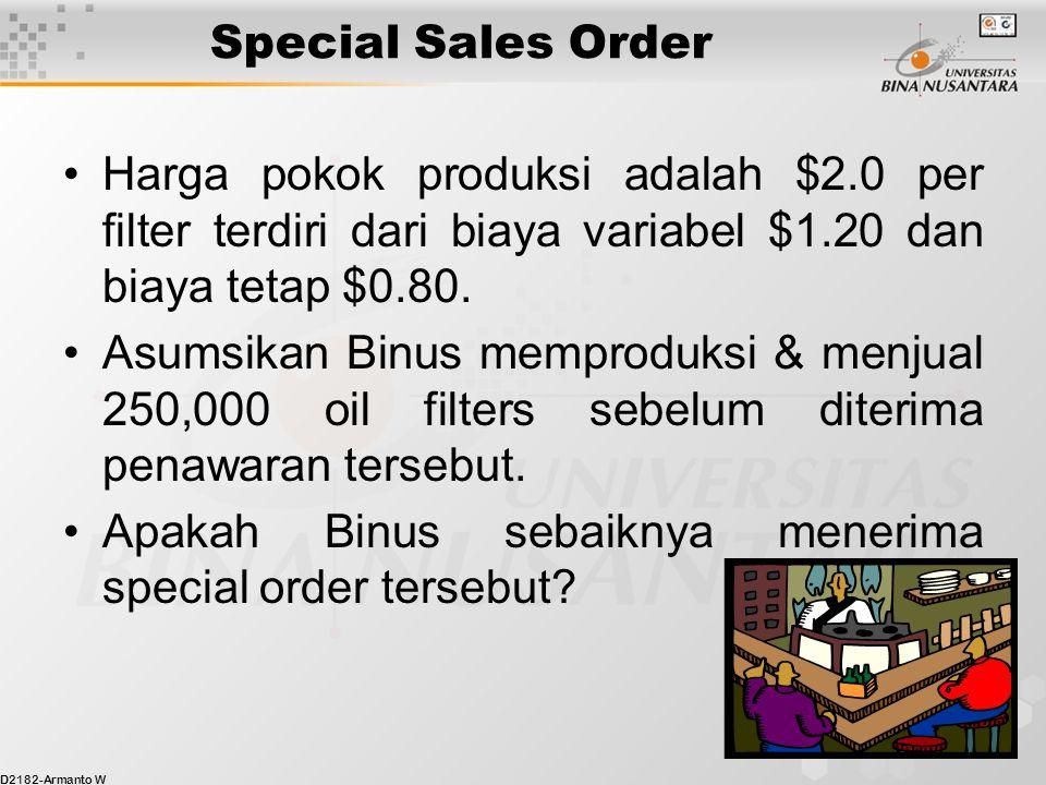 Special Sales Order Harga pokok produksi adalah $2.0 per filter terdiri dari biaya variabel $1.20 dan biaya tetap $0.80.