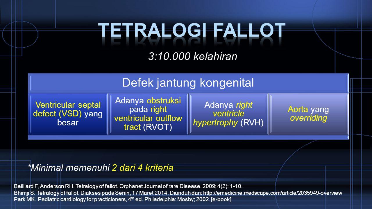 Tetralogi fallot Defek jantung kongenital 3:10.000 kelahiran