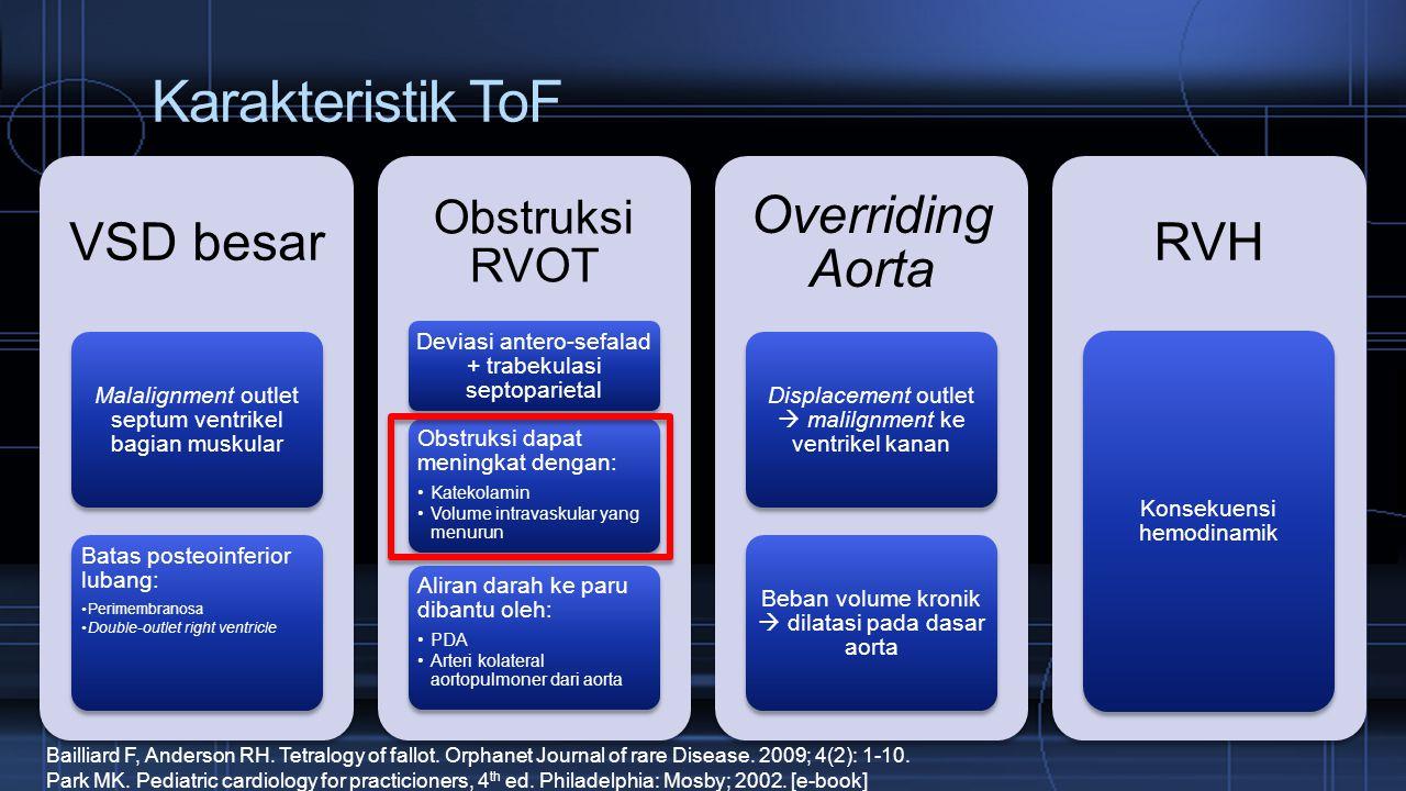 Karakteristik ToF VSD besar Overriding Aorta RVH Obstruksi RVOT