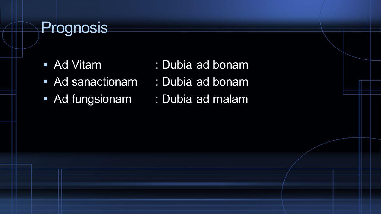 Prognosis Ad Vitam : Dubia ad bonam Ad sanactionam : Dubia ad bonam