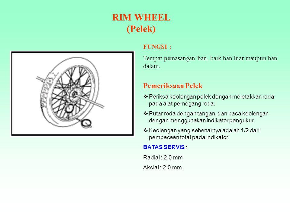 RIM WHEEL (Pelek) Pemeriksaan Pelek FUNGSI :