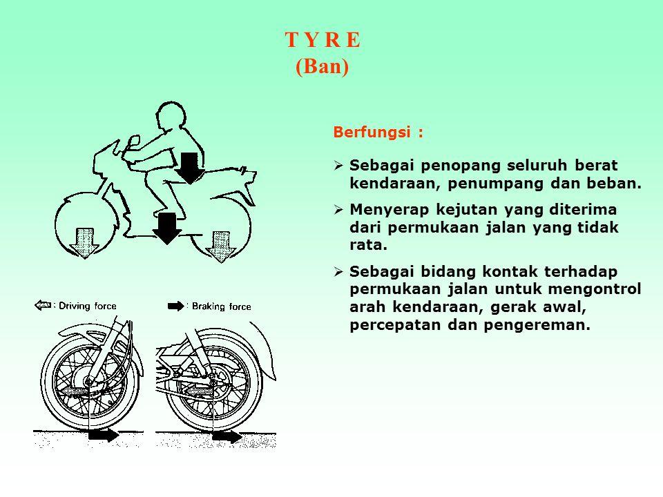 T Y R E (Ban) Berfungsi : Sebagai penopang seluruh berat kendaraan, penumpang dan beban.