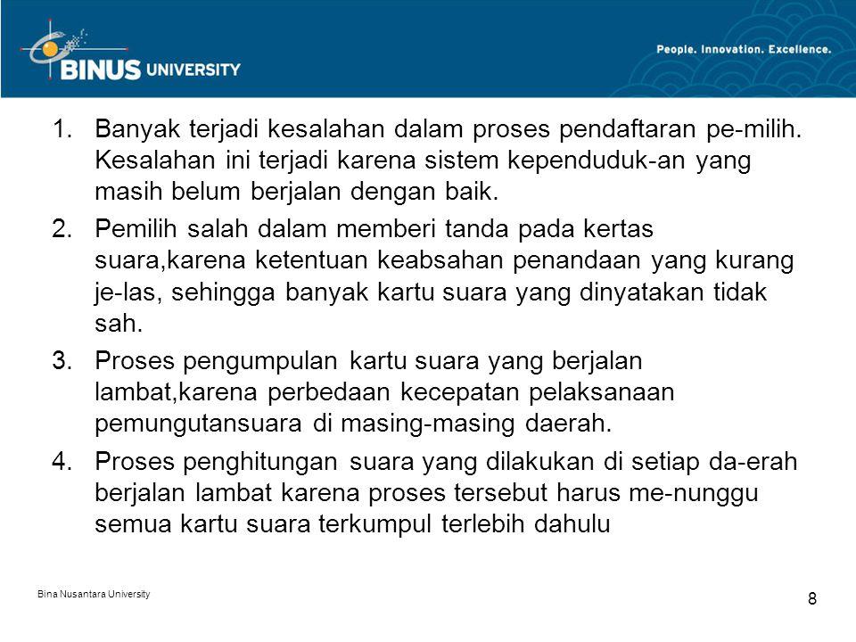 Banyak terjadi kesalahan dalam proses pendaftaran pe-milih