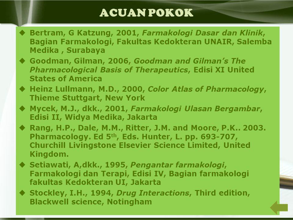ACUAN POKOK Bertram, G Katzung, 2001, Farmakologi Dasar dan Klinik, Bagian Farmakologi, Fakultas Kedokteran UNAIR, Salemba Medika , Surabaya.