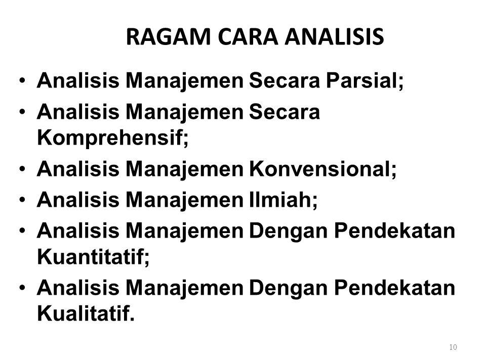 RAGAM CARA ANALISIS Analisis Manajemen Secara Parsial;