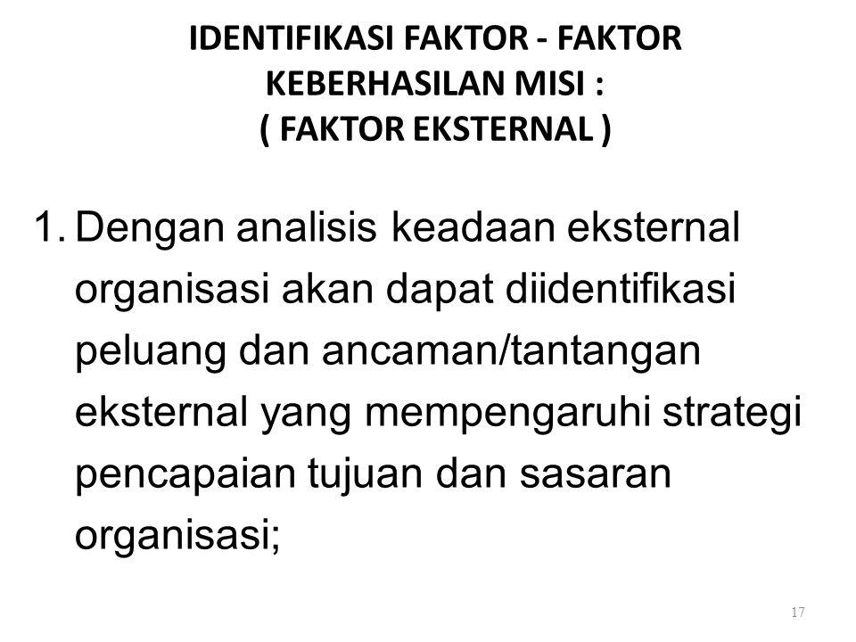 IDENTIFIKASI FAKTOR - FAKTOR KEBERHASILAN MISI : ( FAKTOR EKSTERNAL )
