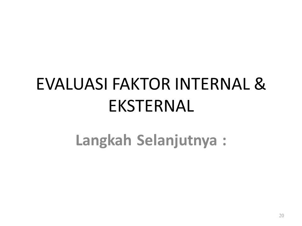 EVALUASI FAKTOR INTERNAL & EKSTERNAL
