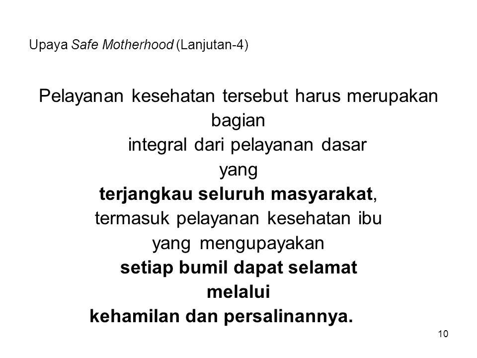 Upaya Safe Motherhood (Lanjutan-4)
