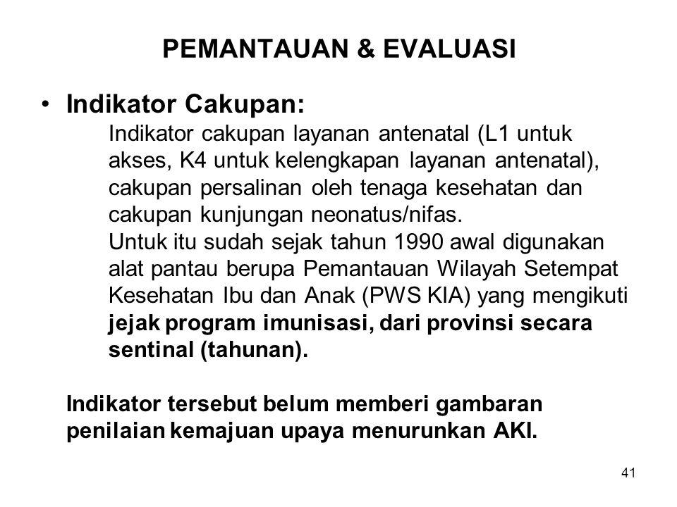 PEMANTAUAN & EVALUASI Indikator Cakupan: