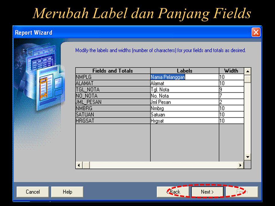 Merubah Label dan Panjang Fields