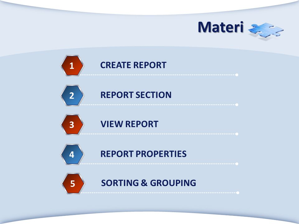 Materi 1 CREATE REPORT 2 REPORT SECTION 3 VIEW REPORT 4