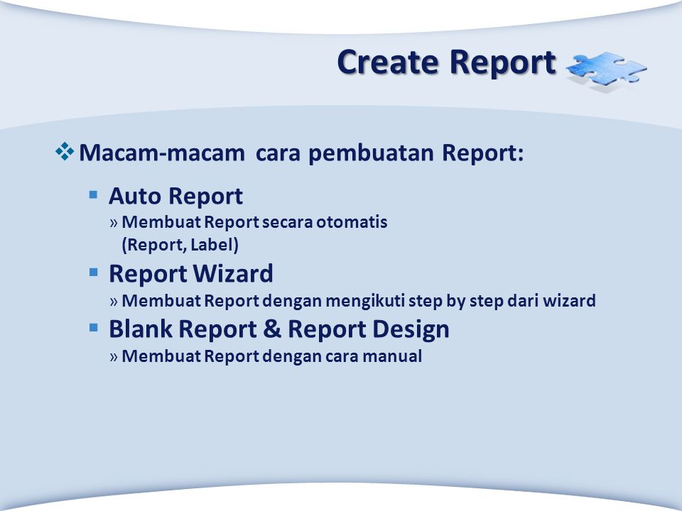 Create Report Report Wizard Blank Report & Report Design