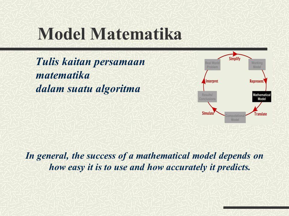 Model Matematika matematika dalam suatu algoritma