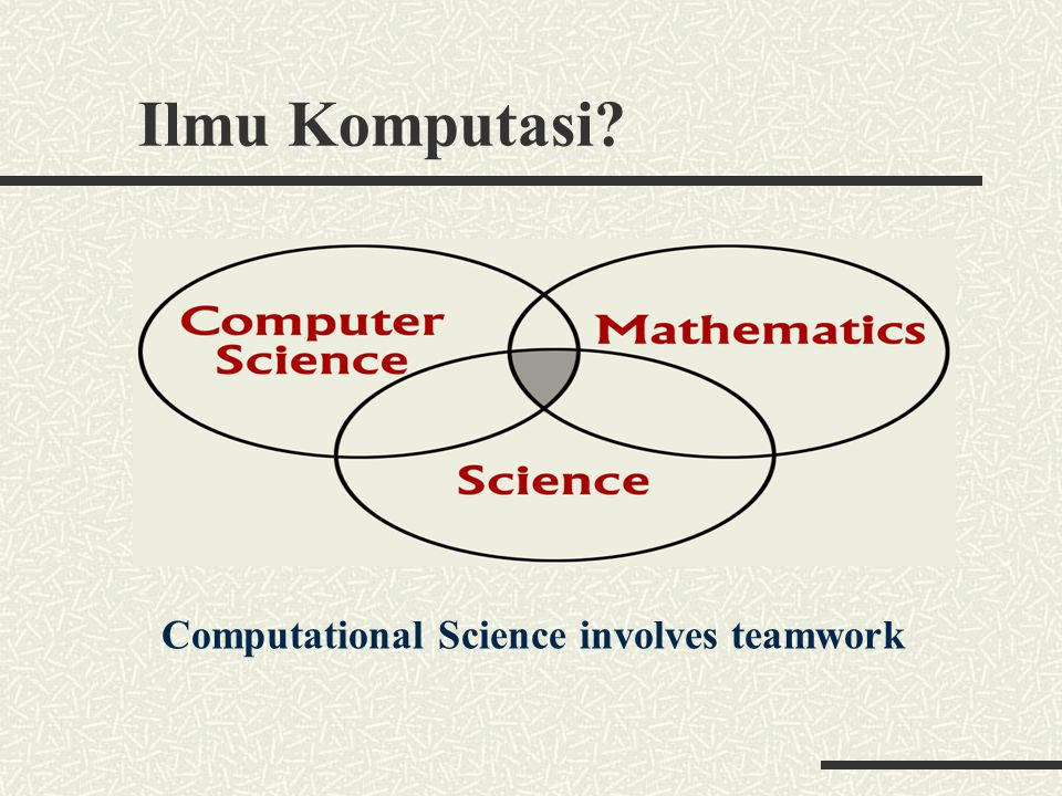 Ilmu Komputasi Computational Science involves teamwork Science