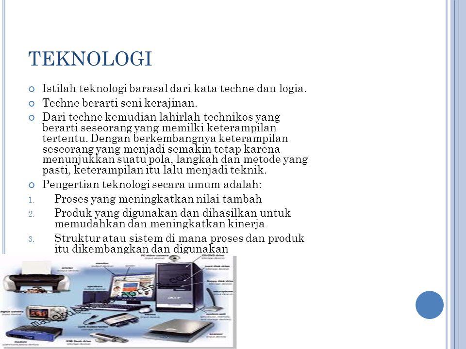 TEKNOLOGI Istilah teknologi barasal dari kata techne dan logia.