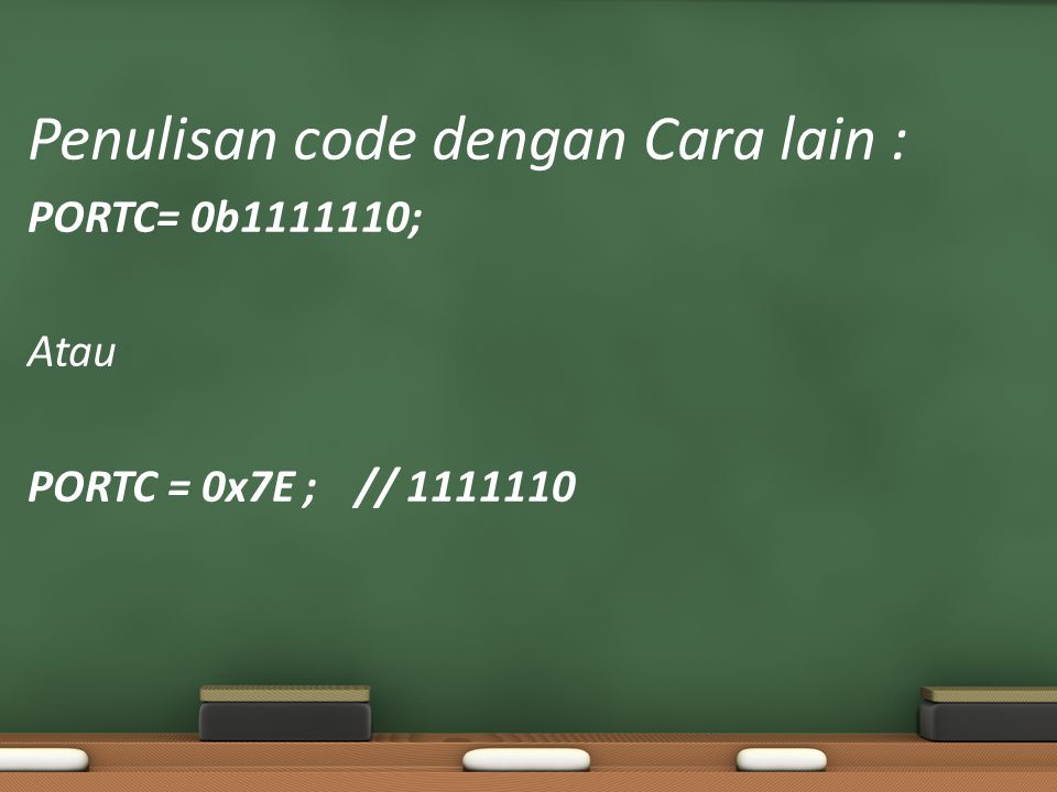 Penulisan code dengan Cara lain :