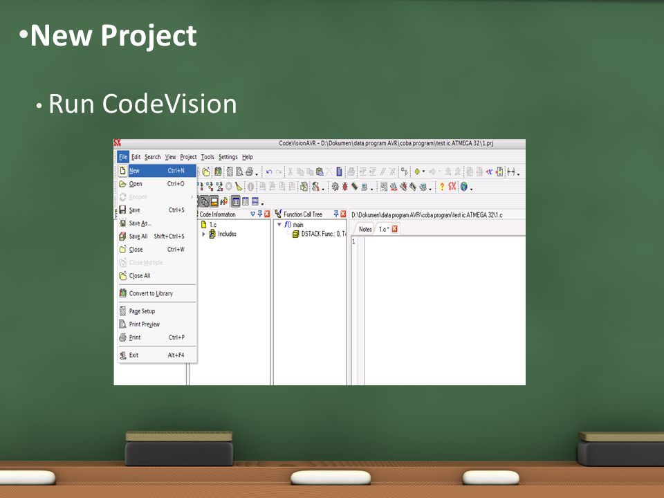 New Project Run CodeVision