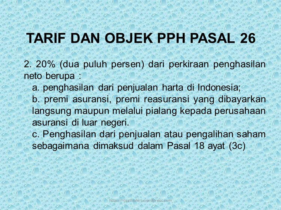 TARIF DAN OBJEK PPH PASAL 26