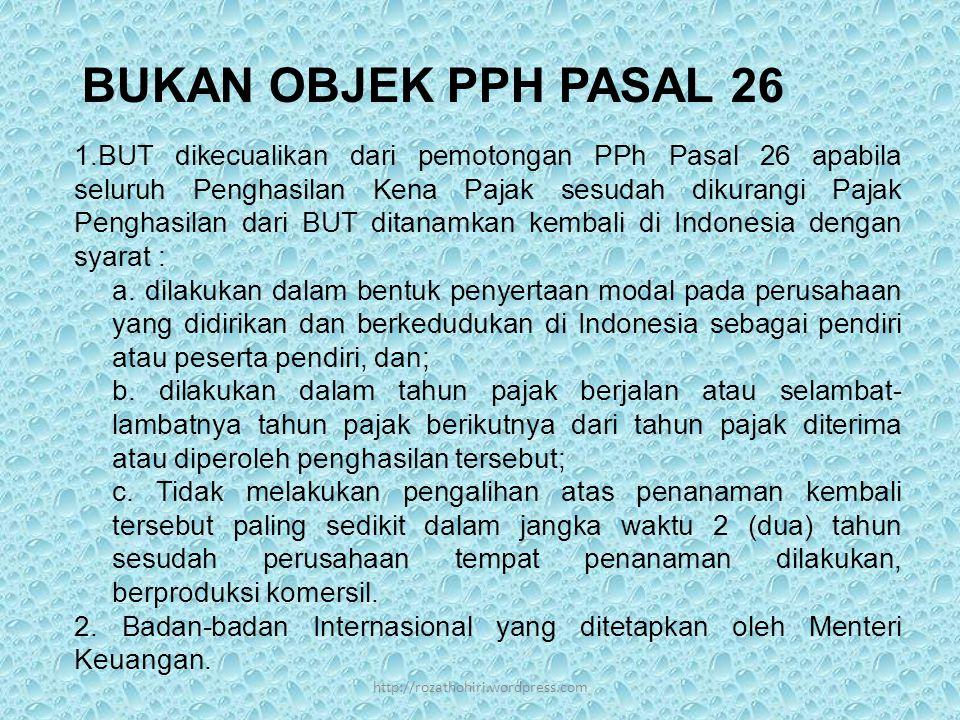 BUKAN OBJEK PPH PASAL 26