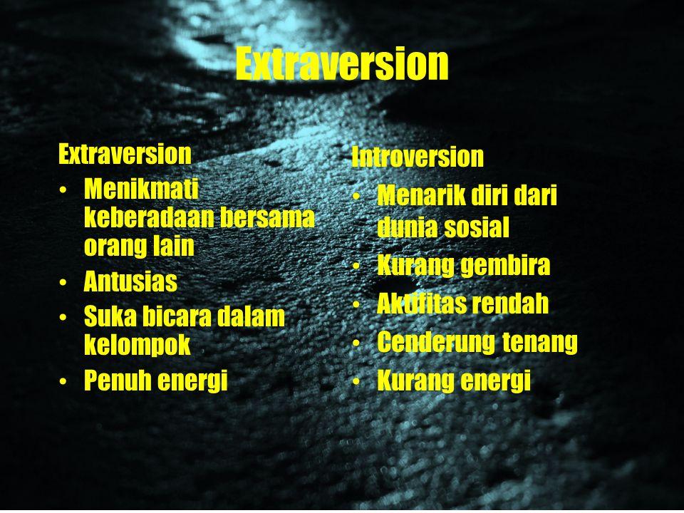 Extraversion Extraversion Menikmati keberadaan bersama orang lain