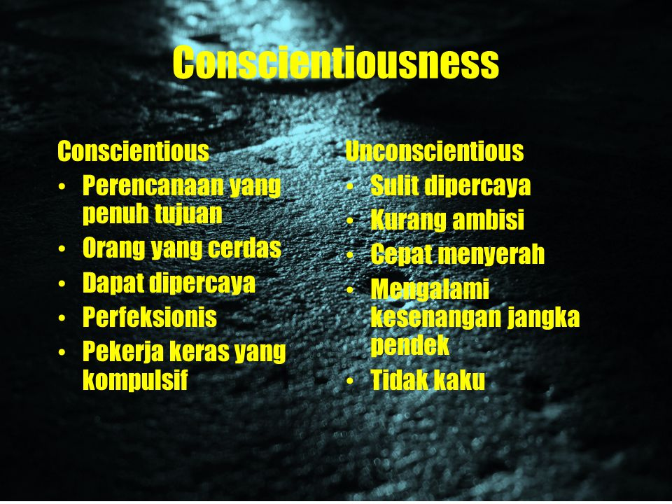 Conscientiousness Conscientious Perencanaan yang penuh tujuan