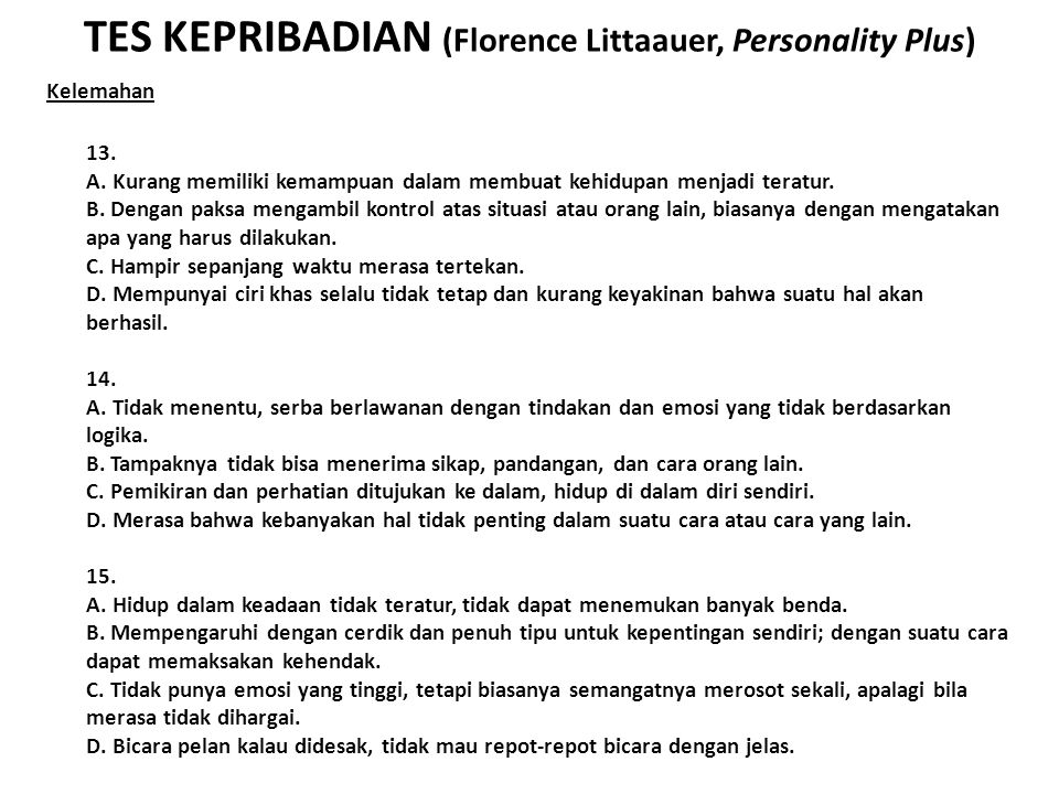 TES KEPRIBADIAN (Florence Littaauer, Personality Plus)