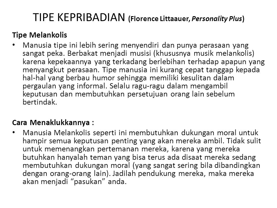 TIPE KEPRIBADIAN (Florence Littaauer, Personality Plus)