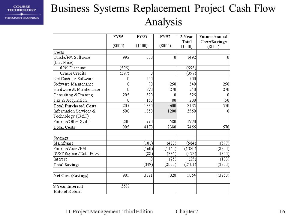 Business Systems Replacement Project Cash Flow Analysis