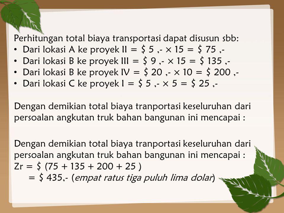 Perhitungan total biaya transportasi dapat disusun sbb: