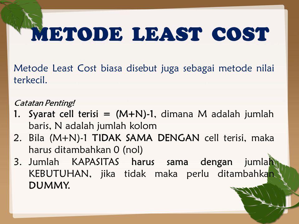 METODE LEAST COST Metode Least Cost biasa disebut juga sebagai metode nilai terkecil. Catatan Penting!