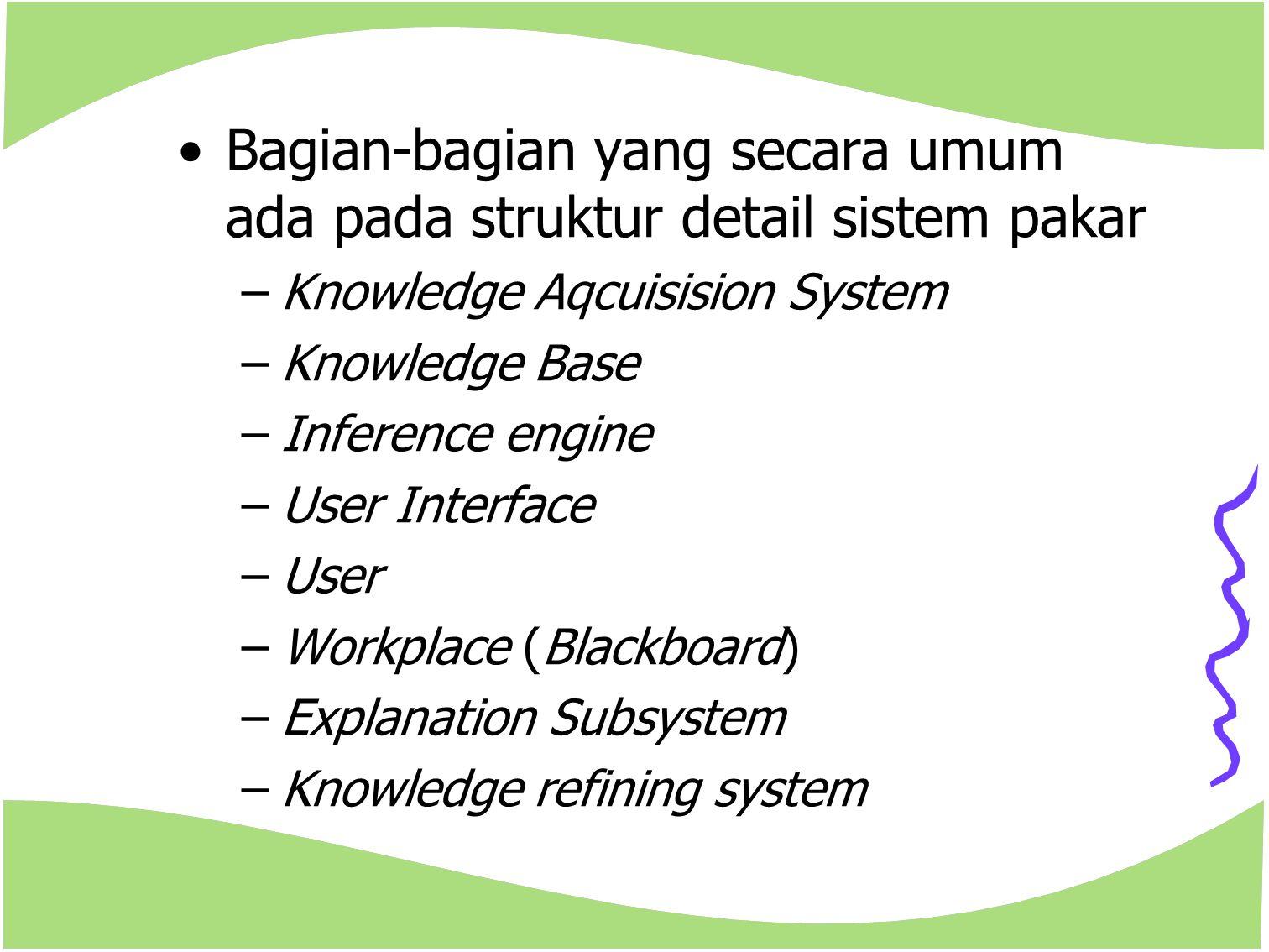 Bagian-bagian yang secara umum ada pada struktur detail sistem pakar