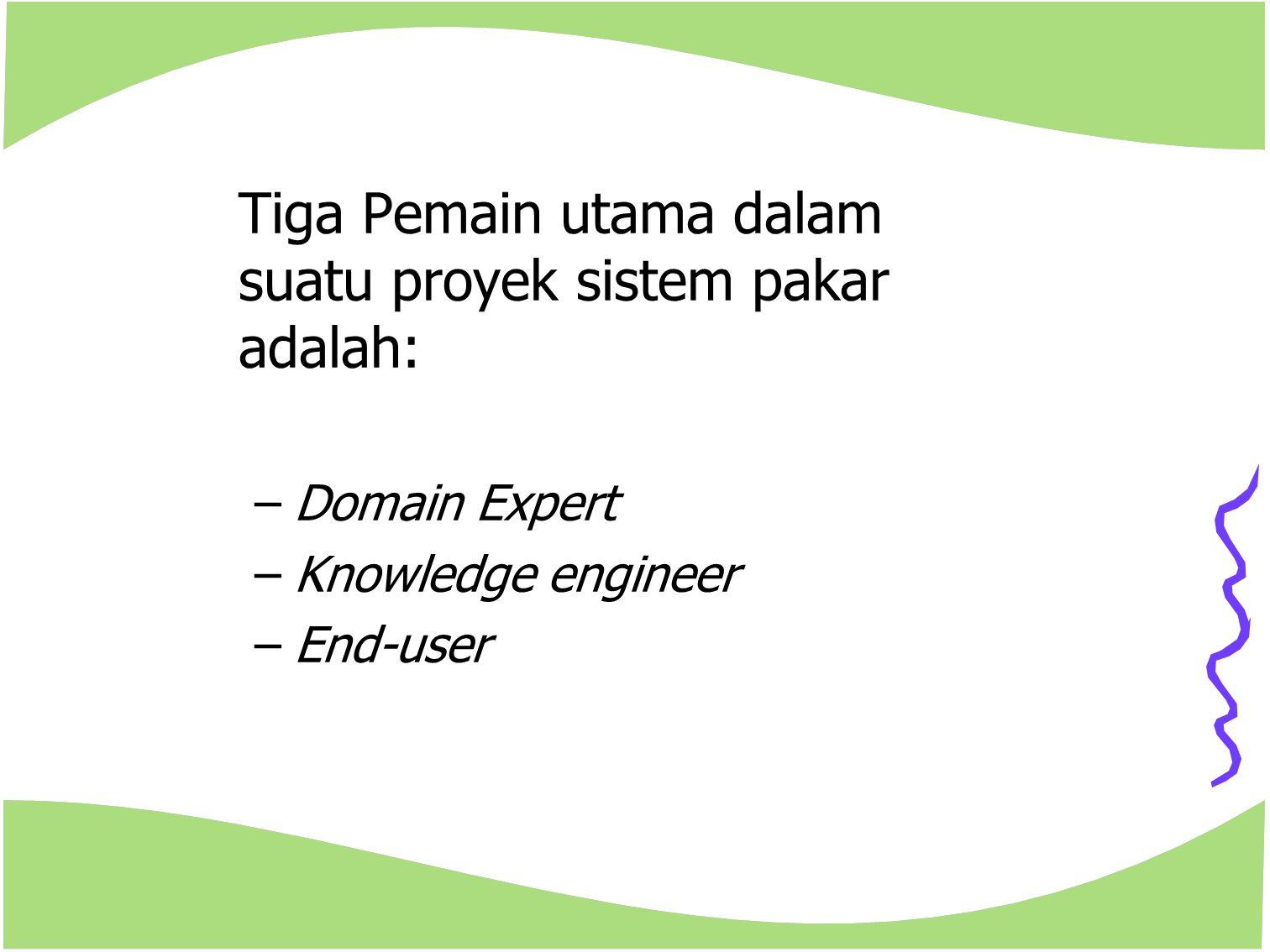 Tiga Pemain utama dalam suatu proyek sistem pakar adalah: