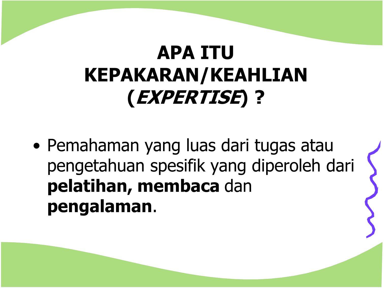 APA ITU KEPAKARAN/KEAHLIAN (EXPERTISE)