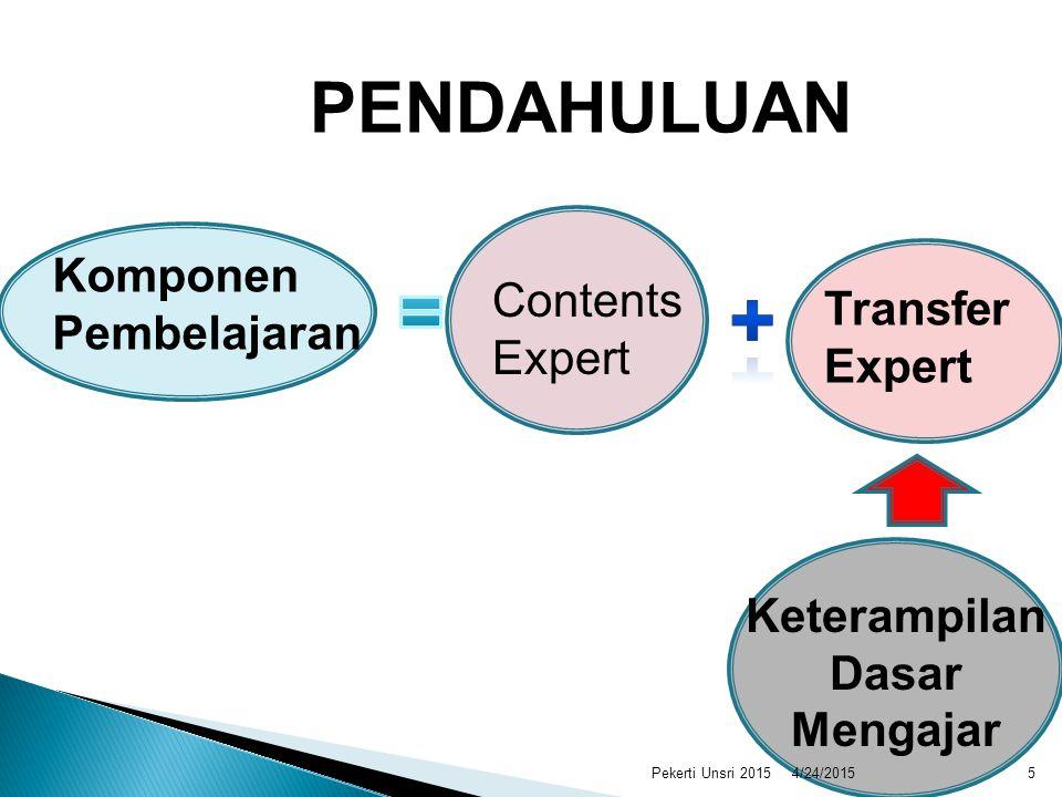 + PENDAHULUAN = Komponen Pembelajaran Contents Expert Transfer Expert