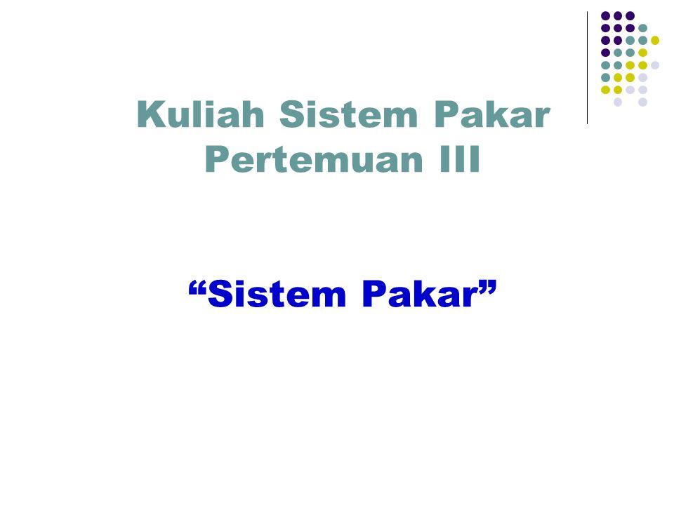 Kuliah Sistem Pakar Pertemuan III Sistem Pakar