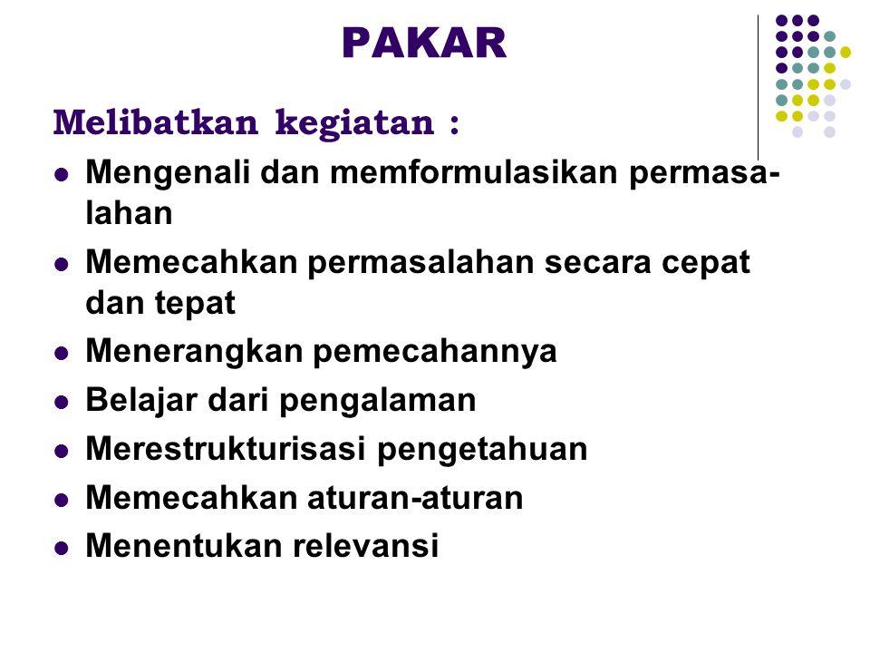 PAKAR Melibatkan kegiatan :