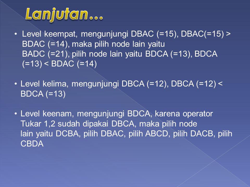 Lanjutan… Level keempat, mengunjungi DBAC (=15), DBAC(=15) > BDAC (=14), maka pilih node lain yaitu.