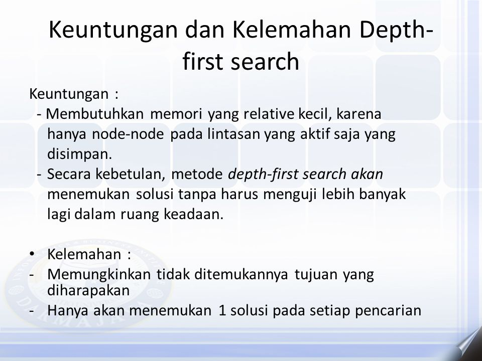 Keuntungan dan Kelemahan Depth-first search