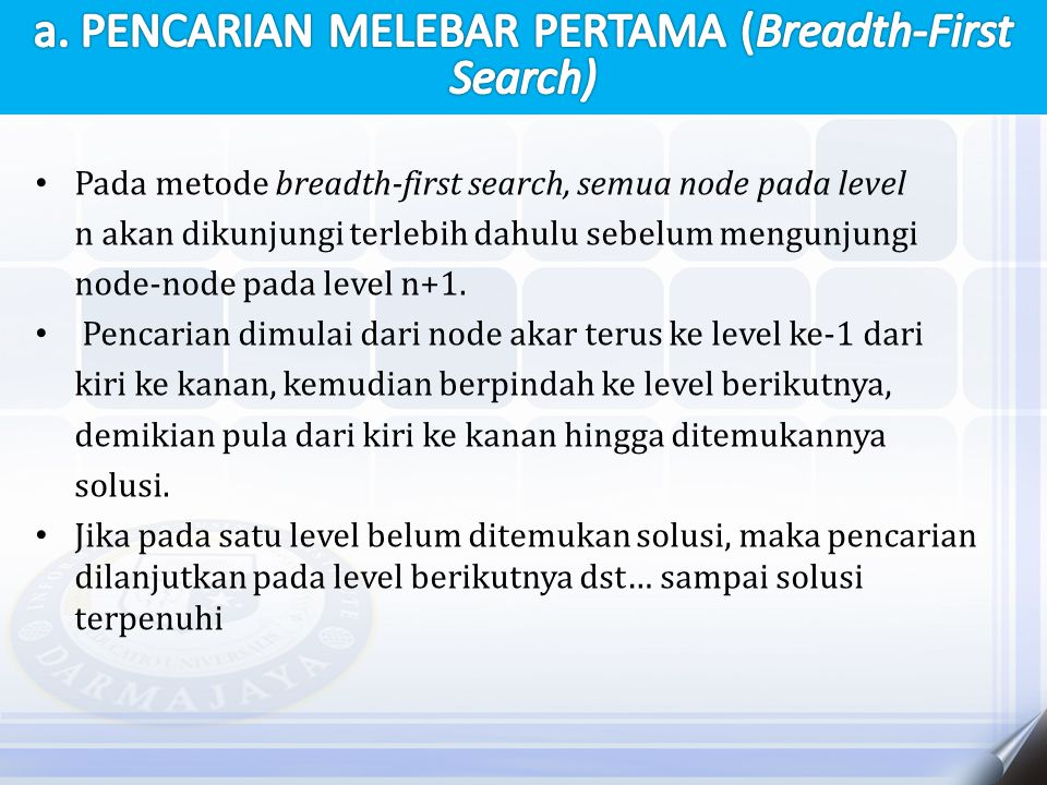a. PENCARIAN MELEBAR PERTAMA (Breadth-First Search)