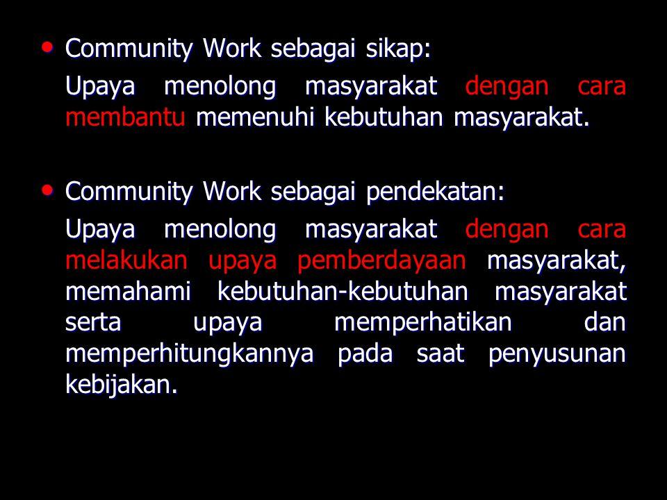 Community Work sebagai sikap: